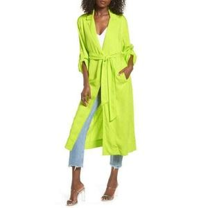 AFRM Womens Hendrix Duster XS Lime Green NWT